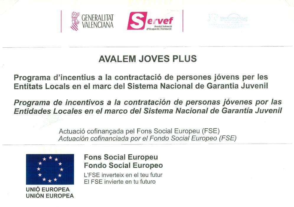 Cartel Avalem Joves Plus.